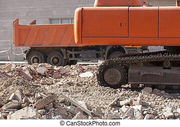 εκσκαφέας , σκουπιδότοπος , ίχνη, πάνω , σπασμένοι λίθοι , ερείπια , φορτηγό , άγχος