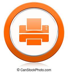 εκτυπωτήs , πορτοκάλι , εικόνα , τυπώνω , σήμα