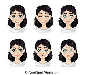 εκφράσεις , γυναίκα , μαλλιά , σκοτάδι , ζεσεεδ