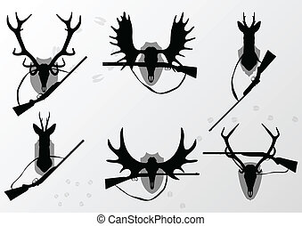 ελάφι , άλκη , και , ελαφίνα , κέρατα , κυνήγι , τρόπαιο