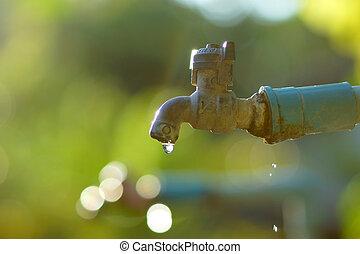 ελαττωματικός , faucet., αιτία , wastage, από , νερό