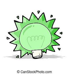ελαφρείς , ακτινοβολώ , πράσινο , γελοιογραφία , βολβός