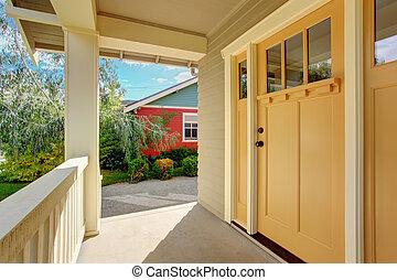 ελαφρείς , είσοδοs , πόρτα , κίτρινο , βεράντα