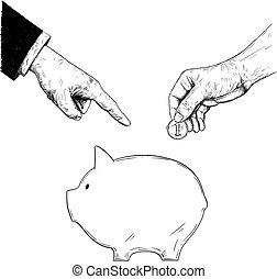 ελαφρό κτύπημα , ή , πολιτικόs , διάταξη , χέρι , πρόσωπο , μικροβιοφορέας , γουρουνάκι , κουστούμι , επιχειρηματίας , κοινός , επινοώ , ζωγραφική , τράπεζα