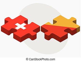 ελβετία , και , bhutan , σημαίες