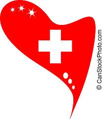 ελβετία , μέσα , καρδιά , σημαία