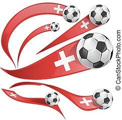 ελβετός , ποδόσφαιρο , σημαία , θέτω , μπάλα