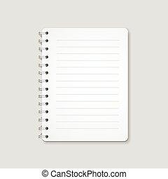 ελικοειδής , ρεαλιστικός , σημειωματάριο , απομονωμένος , φόντο. , κενό , μπλοκ , άσπρο