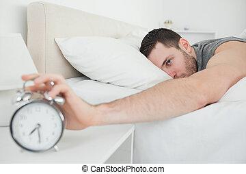 ελκυστικός , άγρυπνος , τρομάζω , κοιμάται , άντραs , ζωή , ρολόι