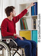 ελκυστικός , άντραs , βιβλίο , ανάπηρος