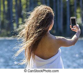 ελκυστικός , έφηβος , selfie., νέος