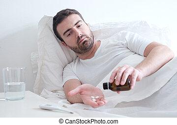 ελκυστικός , κρεβάτι , φάρμακο , ανιαρός , κειμένος , άντραs
