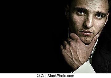ελκυστικός προς το αντίθετον φύλον , γαλάζιο ανήρ , μάτια , ωραία , πορτραίτο
