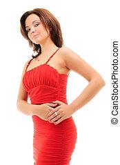ελκυστικός προς το αντίθετον φύλον , γυναίκα , φόρεμα , κόκκινο