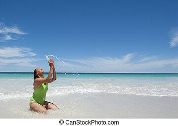 ελκυστικός προς το αντίθετον φύλον , διατυπώνω , γυναίκα , παραλία