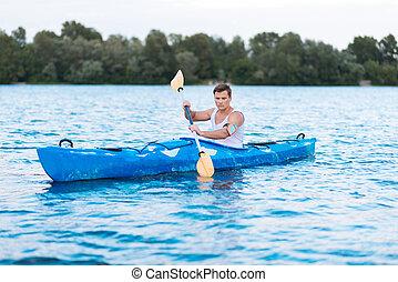 ελκυστικός , kayaking , αγώνας , τμήμα , φίλαθλος , δραστήριος , δυνατός