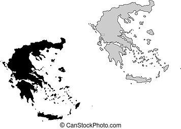 ελλάδα , map., μαύρο και , white., mercator , projection.