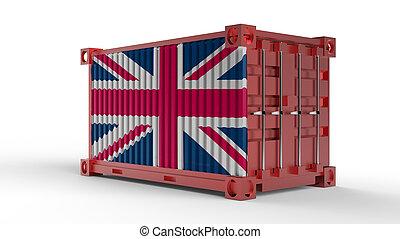 εμπορεύματα δοχείο , βρεταννίδα , απόδοση , σημαία , αποστολή , 3d