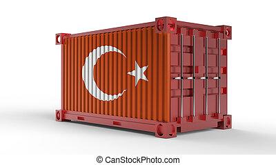 εμπορεύματα δοχείο , τούρκικος , flag., αποστολή , απόδοση , 3d
