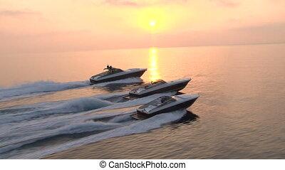 εναέρια θέα , από , πολυτέλεια , βάρκα , απόπλους