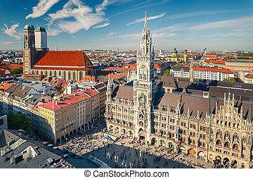 εναέρια θέα , επάνω , ο , ιστορικός , κέντρο , από , munchen...