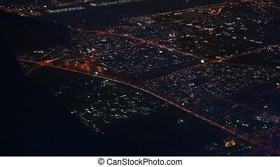 εναέρια θέα , επάνω , dubai , πόλη , από , αεροπλάνο , τη νύκτα