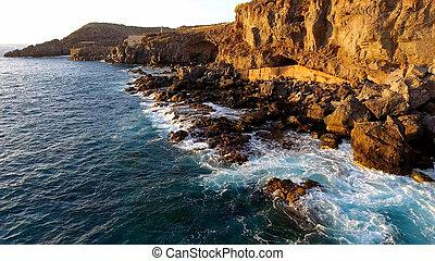 εναέρια , νησί , tenerife , τμήμα , ηλιοβασίλεμα , ακτογραμμή , ώρα , νότιο , βλέπω