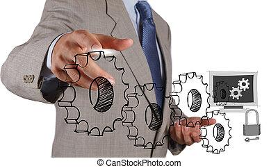 ενδυμασία , ασφάλεια , επιχείρηση , επιχειρηματίας , άγγιγμα , internet , online , χέρι , γενική ιδέα
