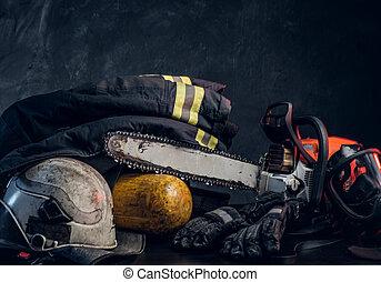 ενδυμασία , ασφάλεια , chainsaw , οξυγόνο , balon