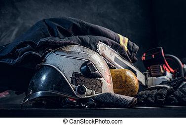 ενδυμασία , κράνος , οξυγόνο , ασφάλεια , balon, chainsaw