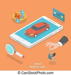 ενοίκιο άμαξα αυτοκίνητο , concept., υπηρεσία , μικροβιοφορέας , online