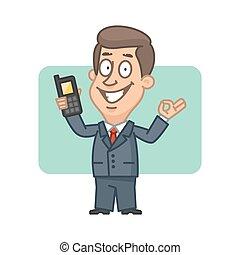 εντάξει , ευκίνητος τηλέφωνο , κράτημα , επιχειρηματίας , αποδεικνύω