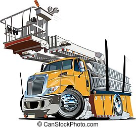εξέδρα , ανεβάζω , φορτηγό , γελοιογραφία