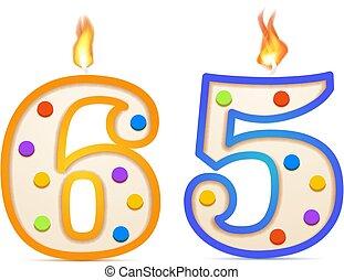 εξήντα , 65, κερί , πέντε , σχηματισμένος , γενέθλια , φωτιά , άσπρο , χρόνια , αριθμόs , επέτειος