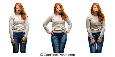 εξαίσιος γυναίκα , έκφραση , αναποδογυρίζω , νέος , ατυχής , άθυμος , κοκκινομάλλης