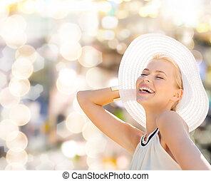 εξαίσιος γυναίκα , απολαμβάνω , καλοκαίρι , έξω