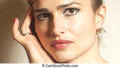 εξαίσιος γυναίκα , αόρ. του shoot , πάνω , ζεσεεδ , στούντιο , πορτραίτο , κλείνω