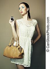 εξαίσιος γυναίκα , δέρμα , νέος , τσάντα , πορτραίτο