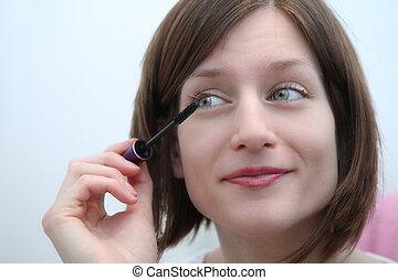 εξαίσιος γυναίκα , εφαρμοσμένος , νέος , μάσκαρα