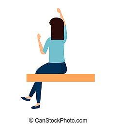 εξαίσιος γυναίκα , κάθονται , νέος , πάνω , χέρι