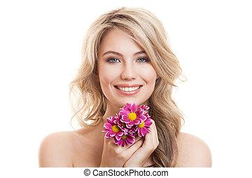 εξαίσιος γυναίκα , καθαρά , skin., flowers., πορτραίτο , χαμογελαστά