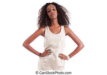 εξαίσιος γυναίκα , κατσαρός , νέος , μαλλιά , αφρικανός