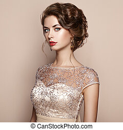 εξαίσιος γυναίκα , κομψός , μόδα , πορτραίτο , φόρεμα