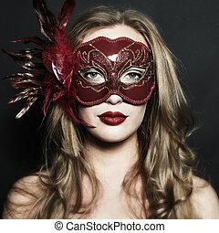 εξαίσιος γυναίκα , μάσκα , νέος , βενετός , μυστηριώδης , κόκκινο