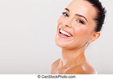 εξαίσιος γυναίκα , με , δυναμωτικός δόντια