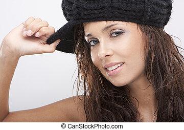 εξαίσιος γυναίκα , πάνω , νέος , κλείνω , χαμογελαστά