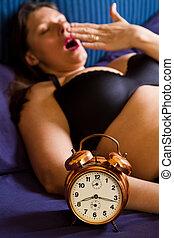 εξαίσιος γυναίκα , ρολόι , τρομάζω , πάνω , αγρυπνία