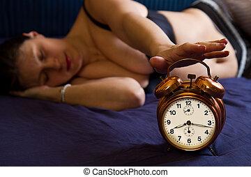 εξαίσιος γυναίκα , ρολόι , τρομάζω , πάνω , νέος , αγρυπνία