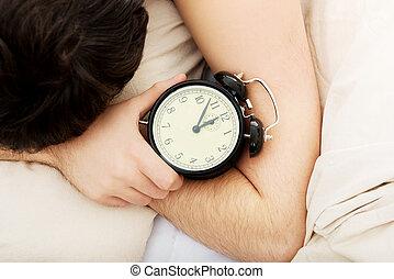 εξαντλημένος , τρομάζω , clock., ζωή , άγρυπνος , άντραs