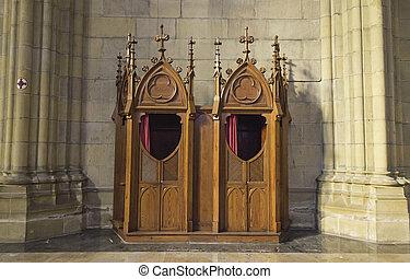 εξομολογητήριο , μέσα , εκκλησία
